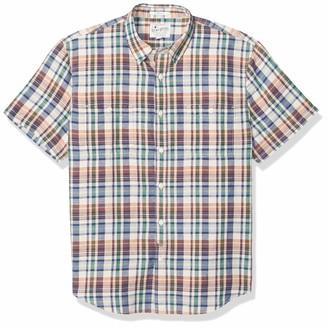 Lucky Brand Men's Short Sleeve Button UP Plaid Two Pocket Shirt