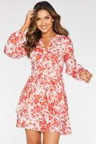 Quiz White and Red Floral Long Sleeve Frill Dress