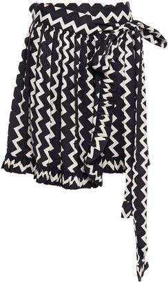 Stella McCartney Silk-satin Jacquard Mini Wrap Skirt