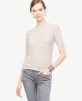Ann Taylor Heathered Elbow Sleeve Knit Tee