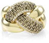 LeVian 14K Yellow Gold Pavé Chocolate Diamond Knot Ring Size 6