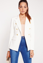 Missguided Military Style Blazer White