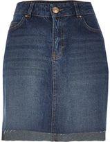 River Island Womens Mid blue wash A-line denim skirt