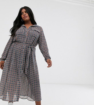 Only Curve chiffon shirt midi dress with tie waist in check print