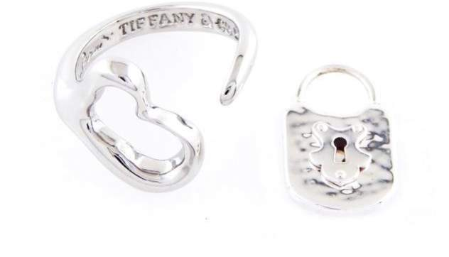 Tiffany & Co. 925 Sterling Silver Elsa Peretti Open Heart and Lock Bundle Ring Size 5.5