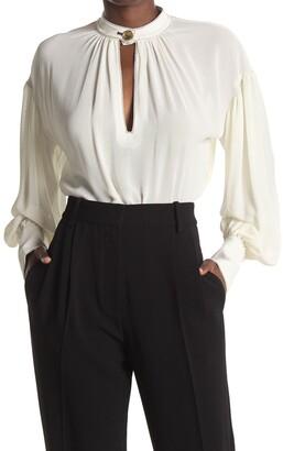 Proenza Schouler Silk Georgette Keyhole Long Sleeve Tunic Blouse