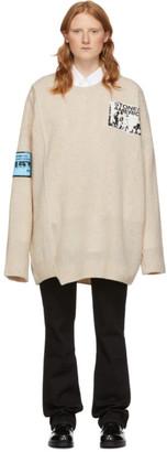 Raf Simons Off-White Merino Oversized Patch Sweater