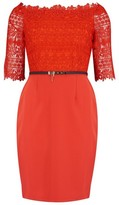 Dorothy Perkins Womens Different Flat Shot Paper Dolls Red Lace Bodycon Dress, Red