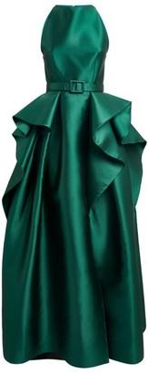 Azzi & Osta Satin Ruffle-Panel Gown