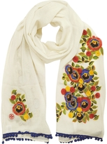 Tory Burch New Ivory and Multi Floral Avalon Embellished Oblong Wool Scarf w/Pom-Pom