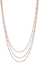 Argentovivo 18K Gold Plated Sterling Silver Diamond Cut Triple Chain Necklace