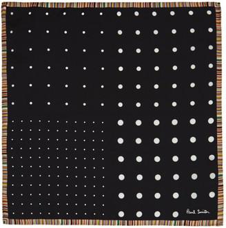 Paul Smith Black Silk Polka Dot Pocket Square