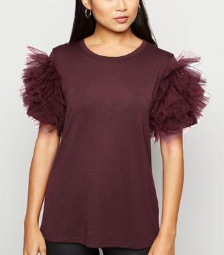 New Look Petite Mesh Ruffle Sleeve T-Shirt