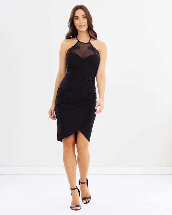 Lipsy Sequin Trim Slinky Wrap Body-Con Dress
