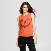 Fifth Sun Women's Jack o Wink Graphic Tank Top Orange Juniors')