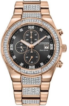 Citizen Men's Eco-Drive Crystal Rose Gold-Tone Stainless Steel Bracelet Watch 42mm