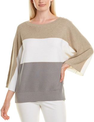 Lafayette 148 New York Colorblocked Cashmere-Blend Sweater