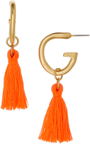 Susan Shaw Orange & Gold Tassel Drop Earrings
