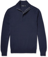 Ermenegildo Zegna - Suede-Trimmed Cashmere Half-Zip Sweater