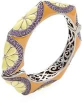 Rina Limor Fine Jewelry Women's Silver, Amethyst & Enamel Floral Bangle Bracelet