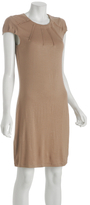 light brown jersey pleated crewneck dress