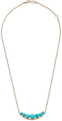 Ippolita Nova 18K Yellow Gold Turquoise Beaded Overlay Curved Bar Pendant Necklace