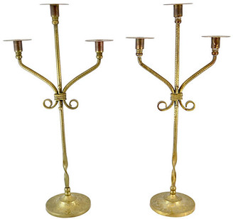 One Kings Lane Vintage Antique Brass Candelabra - Set of 2 - Design Line