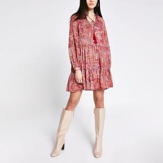 River Island Womens Red printed long sleeve mini smock dress