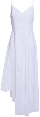 Each X Other Asymmetric Pleated Poplin Midi Dress