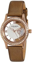 Akribos XXIV Women's AK811BR Quartz Movement Watch with Rose Gold and See Thru Heart Dial Featuring a Brown Satin Strap