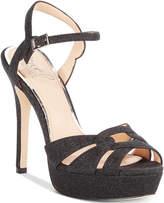 Badgley Mischka Alyssa Glittered Platform Evening Sandals Women's Shoes