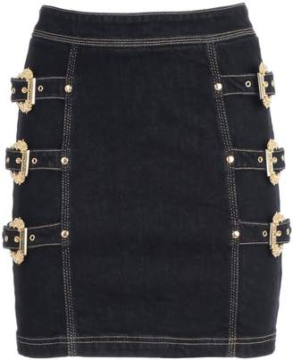 Versace Skirt Denim W/3 Gold Buckle
