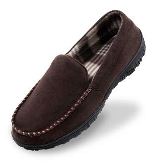 Shoeslocker Mens Slippers Size 12 House Shoes for Men Microsuede Moccasin Slippers Memory Foam Brown
