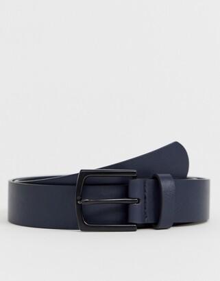 Asos Design DESIGN Wedding faux leather slim belt in navy with matte black buckle