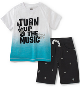 Kids Headquarters White 'Turn Up' Tee & Black Skull Shorts - Infant Toddler & Boys