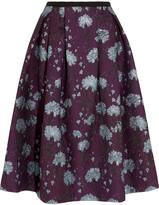 Erdem Imari Metallic Floral-jacquard Midi Skirt - Burgundy