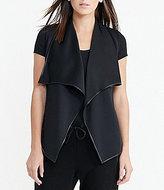 Lauren Ralph Lauren Faux-Leather Trimmed Neoprene Open Front Vest