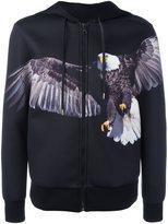 Neil Barrett eagle print hoodie - men - Polyester/Polyurethane/Viscose - M