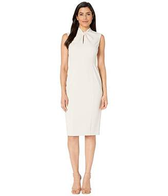 Donna Morgan Sleeveless Crepe Dress with Tie Knot Front