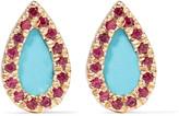 Adina 14-karat gold turquoise and ruby earrings