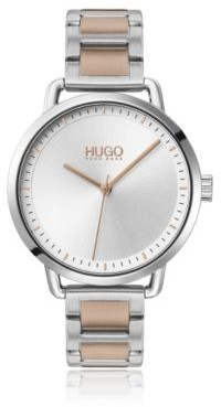 HUGO BOSS Stainless-steel watch with two-tone chain-link bracelet
