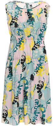 M Missoni Gathered Printed Silk Crepe De Chine Dress