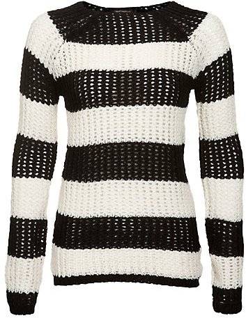New Look Misumi Black and White Stripe Crew Neck Jumper