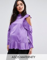 Asos Satin Ruffle Top with Cold Shoulder Detail