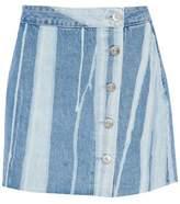 3x1 Distressed Denim Mini Skirt