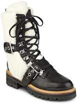 Sigerson Morrison Women's Iris Leather and Sheep Fur Lace Up Booties