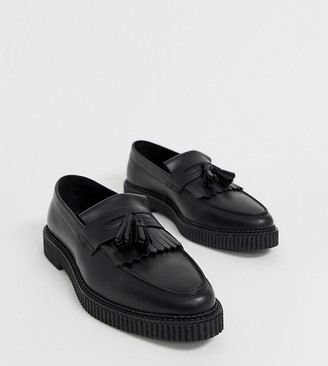 ASOS DESIGN Wide Fit loafers in black leather with creeper sole