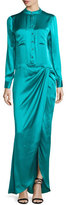 Haute Hippie Long-Sleeve Button-Front Gown, Turquoise