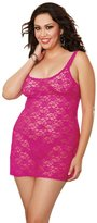 Dreamgirl Women's Plus-Size Stretch Lace Sexy Chemise with Matching G-String