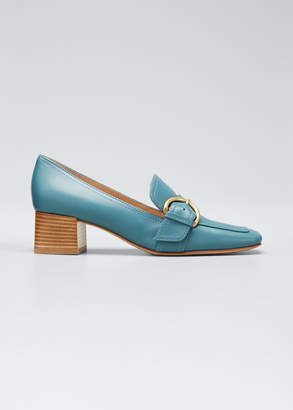 Gianvito Rossi 45 mm Square-Toe Leather Loafers